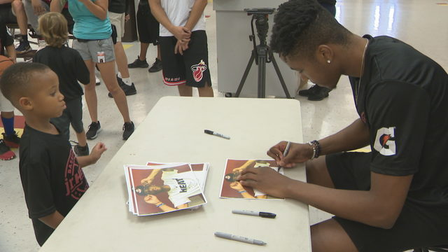 KZ Okpala visits Heat Junior camp
