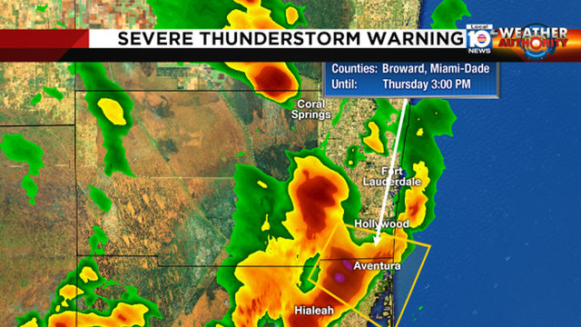 Severe thunderstorm warning issued for northern Miami-Dade, southern Broward