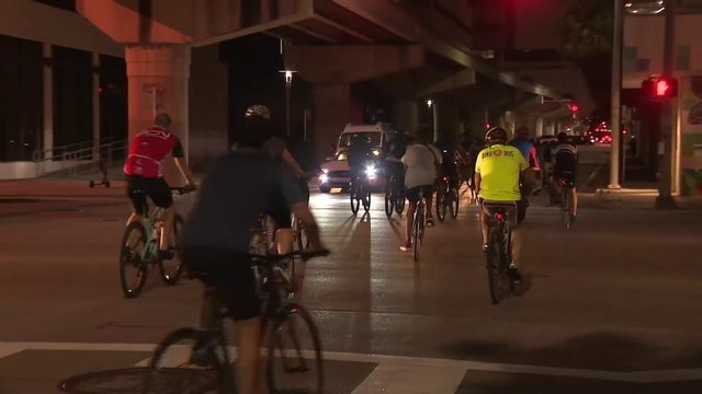 Hundreds of cyclists gather in downtown Miami for ride organized by…