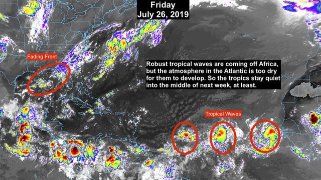 Tropics to remain quiet until middle of next week, at least