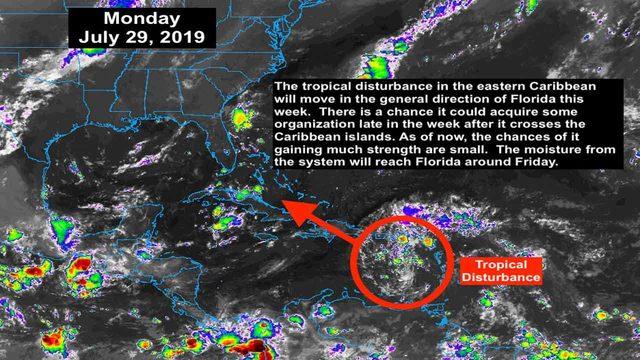 Tropical disturbance headed toward Florida this week