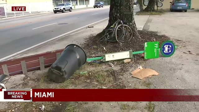 Driver strikes pedestrian with vehicle at Miami bus stop, police say