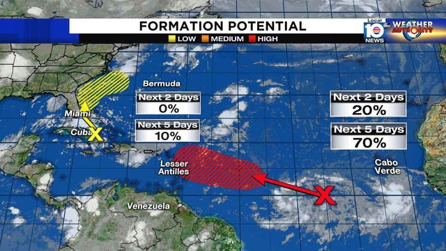 Tropical disturbance far out in Atlantic likely to develop