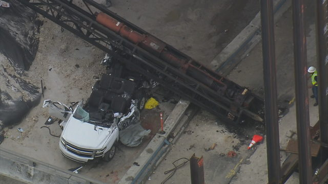 Crane falls on vehicle at construction site in Miramar, killing driver