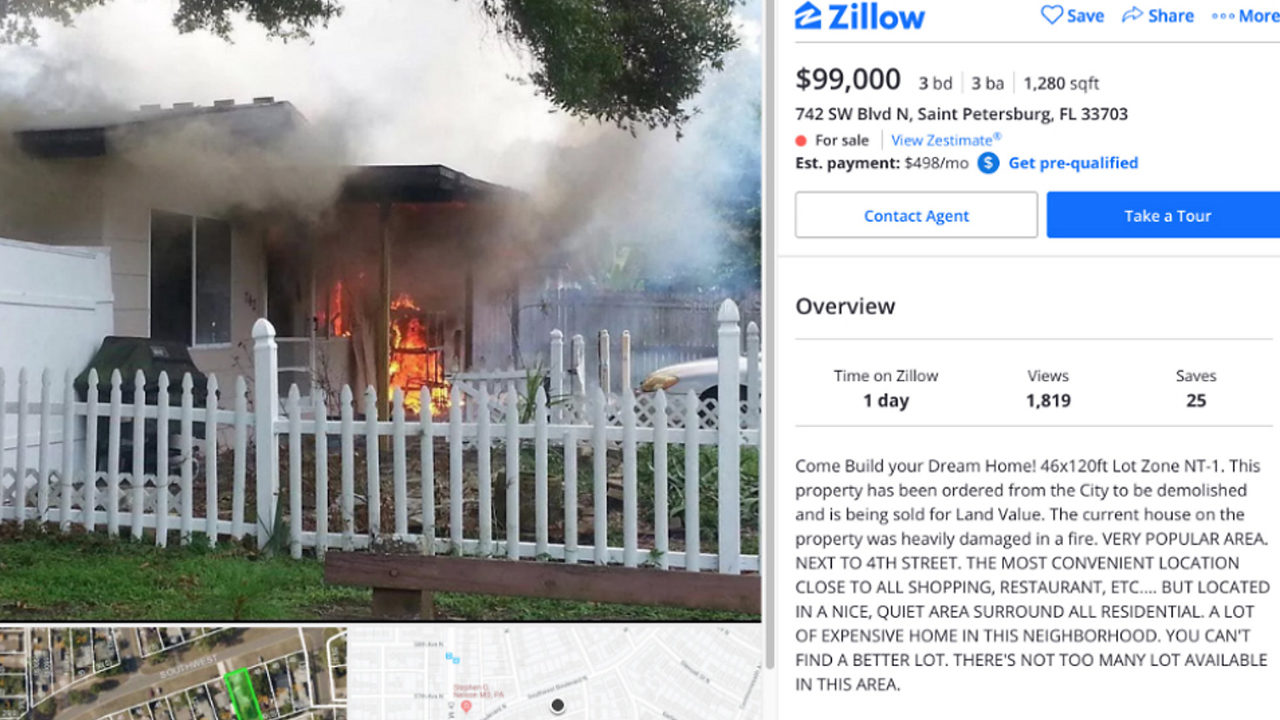 Hot Florida real estate as realtor shows home in flames in