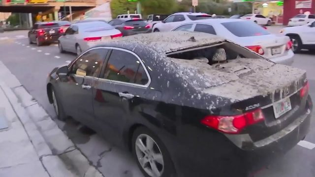 No injuries reported after wet cement falls onto Uber vehicle in Miami