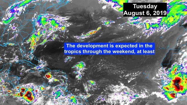 No tropical development expected through weekend