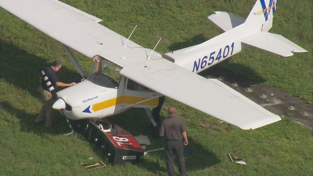 Small plane strikes sign at North Perry Airport