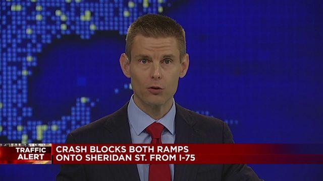 Sheridan Street closed at I-75 after crash involving motorcyclist