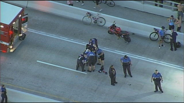 Bicyclist shot on Rickenbacker Causeway