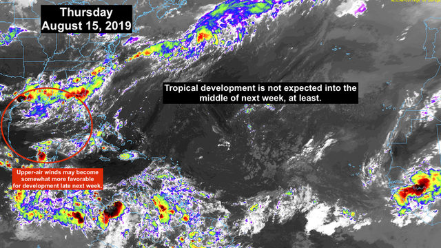 The tropics in mid-August remain quiet, for now