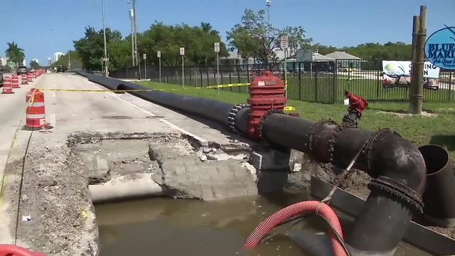 Crews continue to try to plug waste water line after sewage spill