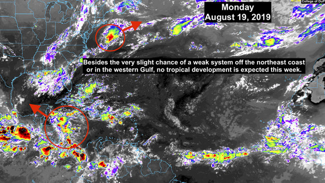 Very slight chance of tropical organization in Gulf of Mexico this week
