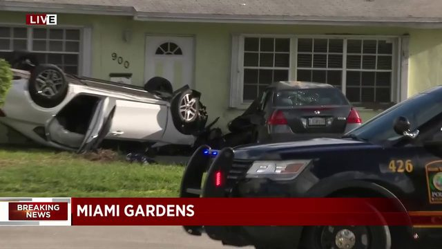 1 injured in rollover crash outside home in Miami Gardens
