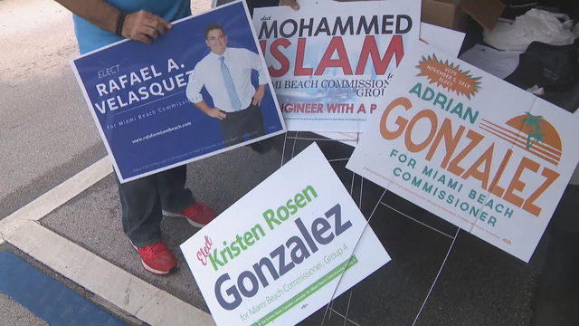 Miami Beach City Commission candidate confronts campaign sign snatcher