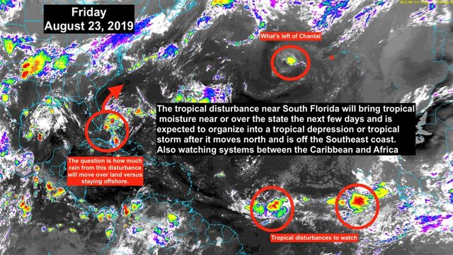Tropical disturbance continues slowly drifting toward South Florida