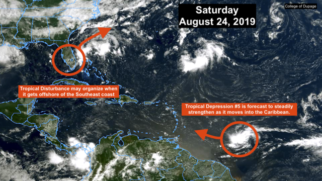 New Tropical Depression 5 is forecast to strengthen in the Atlantic
