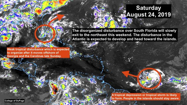 Tropical disturbance gets organized, approaches Caribbean islands
