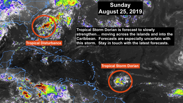 Tropical Storm Dorian to impact Caribbean islands