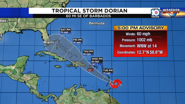 South Florida now in 5-day forecast cone for Tropical Storm Dorian