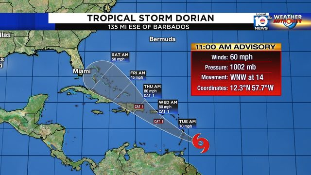 Tropical Storm Dorian poses threat to Puerto Rico, Dominican Republic