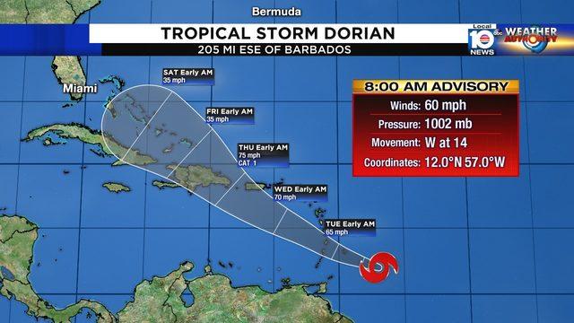 Tropical Storm Dorian poses threat to Puerto Rico, Dominican Republic