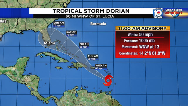 Tropical Storm Dorian moving into Caribbean, still poses threat to Florida