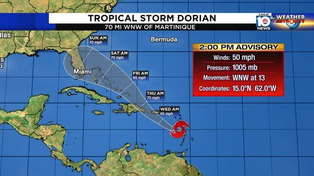 Forecast still shows threat to Florida from Tropical Storm Dorian