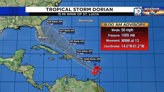 Tropical Storm Dorian moving into Caribbean, still poses threat to Florida