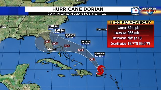 All of South Florida in forecast cone as Hurricane Dorian strengthens