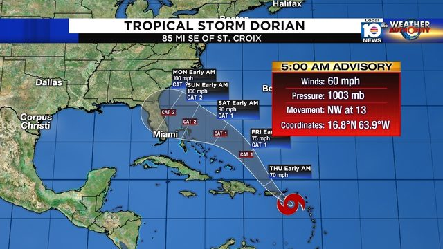 Dorian forecast to affect Florida over the weekend