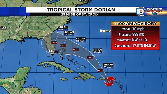 Dorian intensifying, Florida may be impacted by strong hurricane