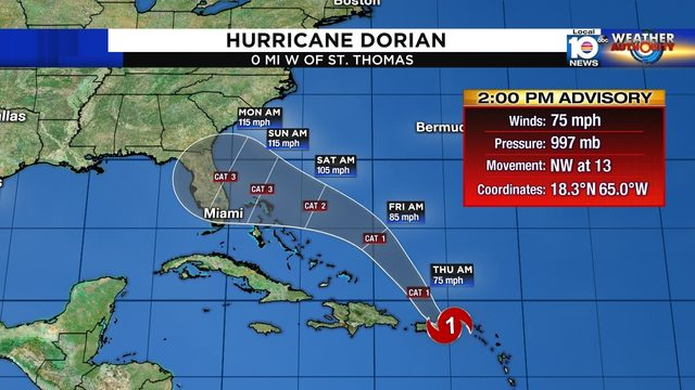 Dorian becomes hurricane, most of Florida remains in cone