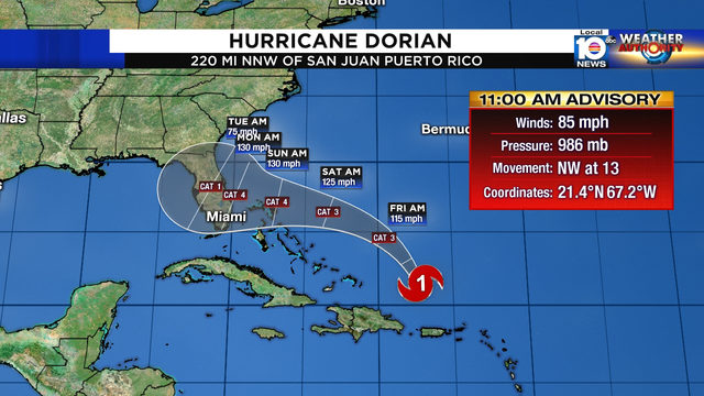 Hurricane Dorian expected to be Cat. 4 by possible Florida landfall
