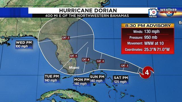 Hurricane Dorian strengthens to Cat. 4 storm, Florida still targeted
