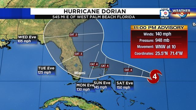 Category 4 Hurricane Dorian gets stronger with devastating 140 mph winds