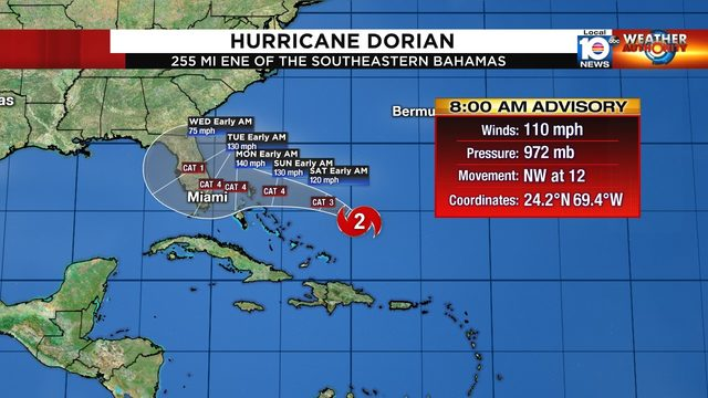 Threat to South Florida increases as Hurricane Dorian slows down