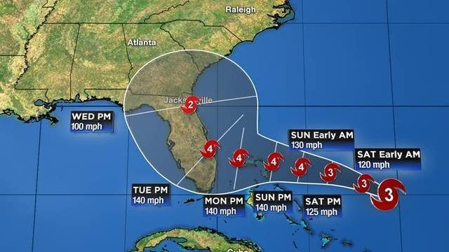 Hurricane Dorian strengthens as it approaches Florida