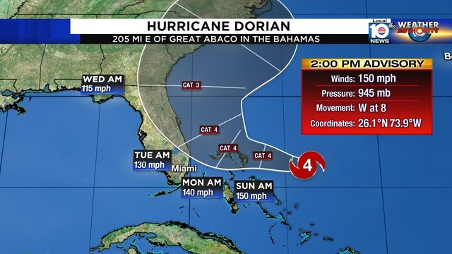 Broward, Miami-Dade out of forecast cone, but Dorian bears watching