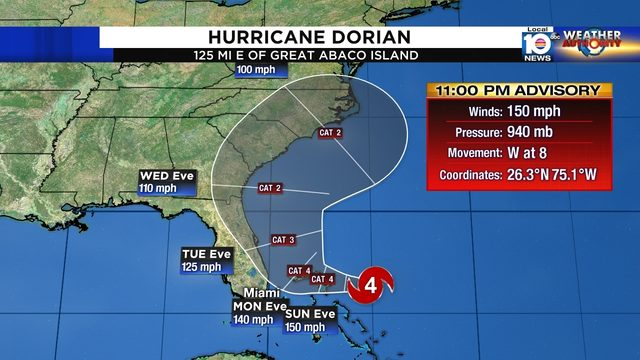 Tropical Storm Watch issued in parts of Florida as Dorian bears down on Bahamas