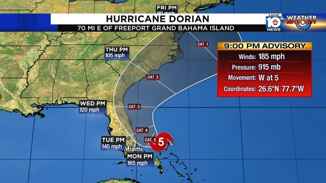 Hurricane Dorian crashes over Bahamas with 220 mph winds