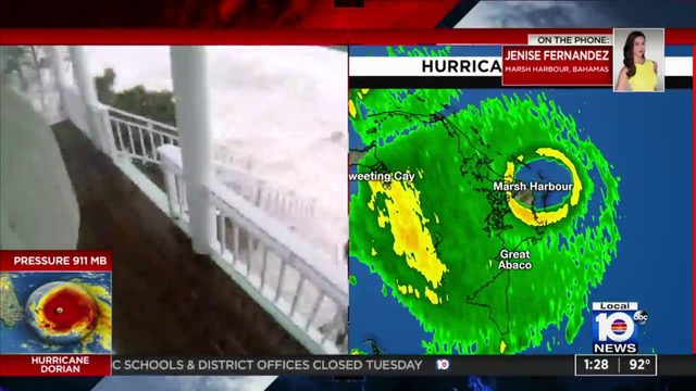 Local 10's Jenise Fernandez reports live from the eye of Hurricane Dorian