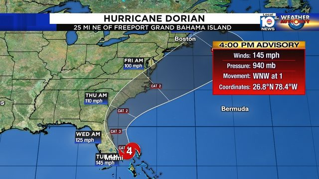 WATCH LIVE: Hurricane Dorian downgraded to Cat. 4, Florida still in cone