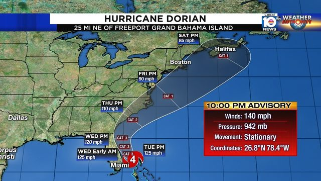Hurricane Dorian remains stationary, strong Category 4