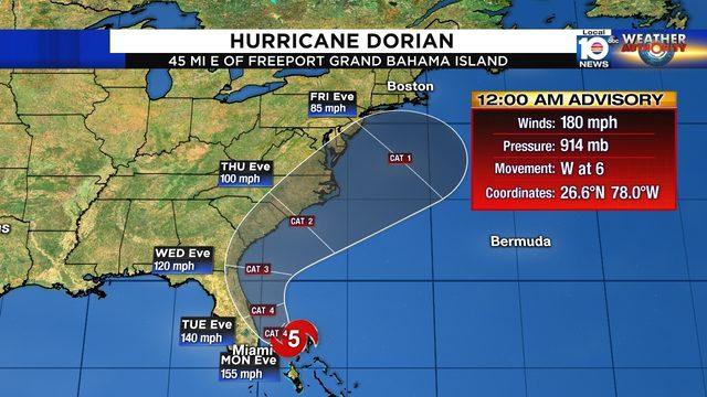 Hurricane Dorian pummels eastern Grand Bahama Island
