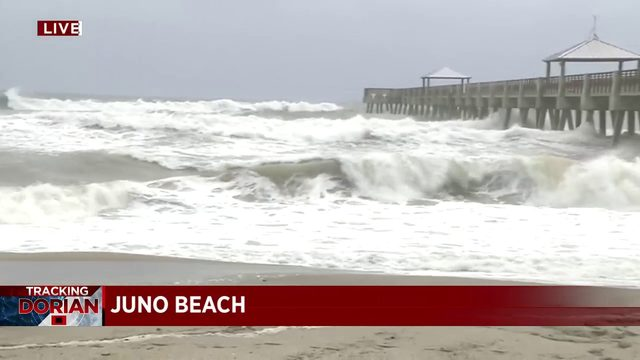 Tropical storm-force wind gusts reported at Juno Beach Pier