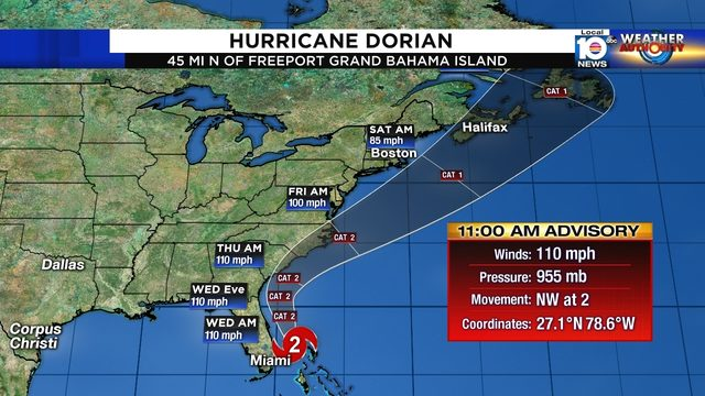WATCH LIVE: Dorian downgraded to Cat. 2, tropical storm watch ends in Broward