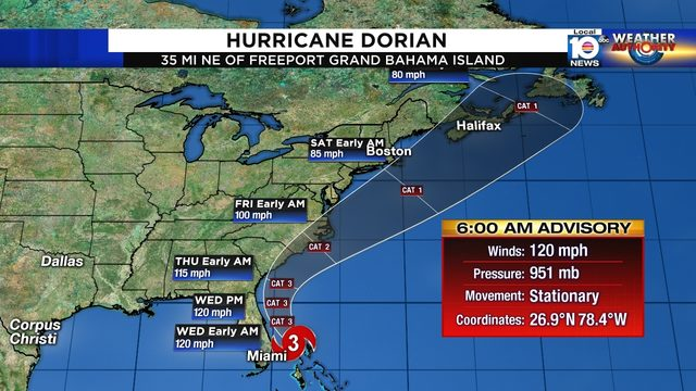 Hurricane Dorian weakens to Category 3 storm, remains stalled over Bahamas