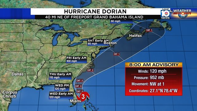 Hurricane Dorian weakens to Category 3 storm, begins moving away from Bahamas