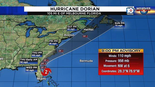 Category 2 Hurricane Dorian tracks along Florida coast
